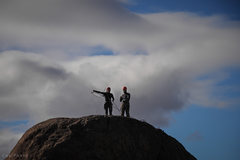 Rock Climbing Photo: Rita and Matt in Split Rocks, storm on the way.  P...