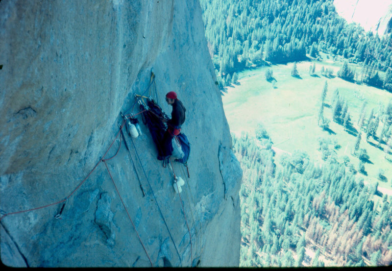 Belay on the Triple Direct at the start of the Shield variation.