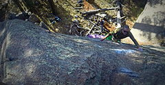 Rock Climbing Photo: Rich McDade high up on Dark Tranquility