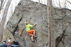 Rock Climbing Photo: Mike setting up for a big move on Baby Grand