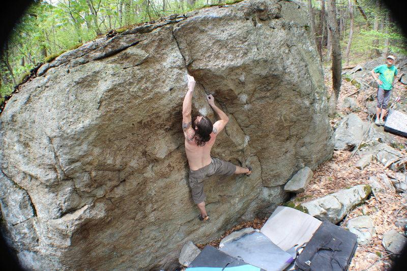 Rock Climbing Photo: Josh nearing the top of Chinny Chin Chin