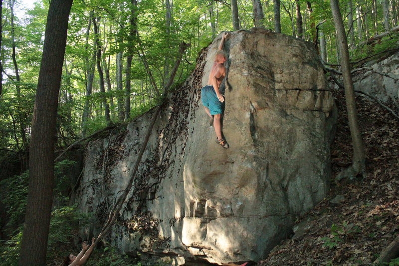 Rock Climbing Photo: Mike going all out for the top of Tim's Arete