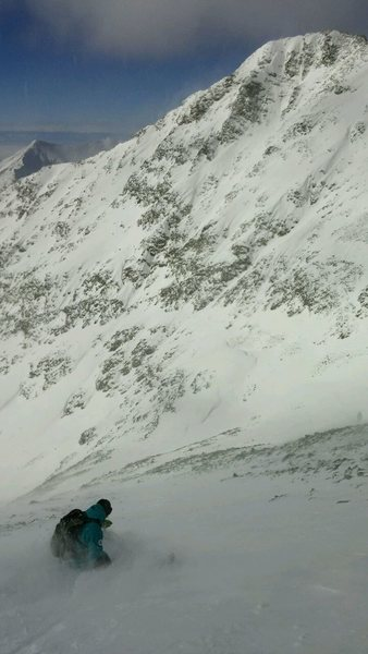 Deep pow on Blanca Peak. Winter ski decent