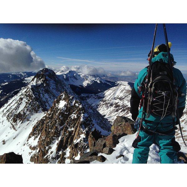 On the summit of Mt. Wilson looking at El Diente