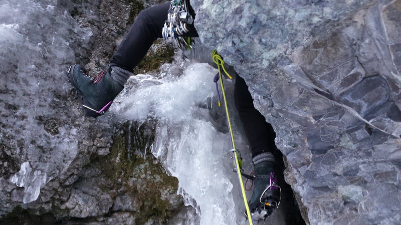 Mike on Pitch 2 of Slippery When Wet - Ouray Colorado Skylight Area.  Jan 18th 2015 with Mike Colacino.