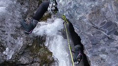 Rock Climbing Photo: Mike on Pitch 2 of Slippery When Wet - Ouray Color...