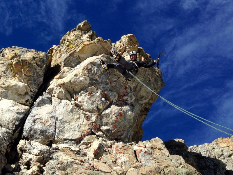 Rapping off the top. M7 pitch climbs the steep crack/di-himney.