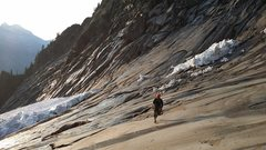 Rock Climbing Photo: Running across the approach slab below the remnant...