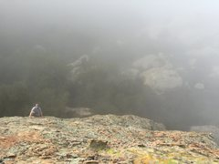 Rock Climbing Photo: Roy heading up the 2nd pitch on a misty winters da...