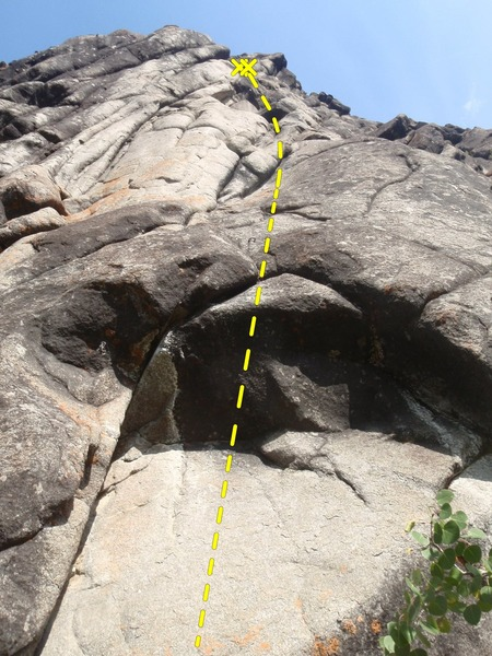 Start on the light colored boulder problem to reach the first bolt.