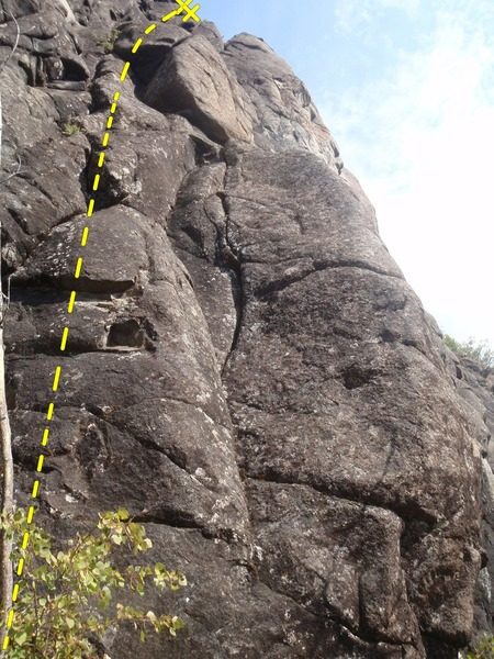 Rock Climbing Photo: Climb up the dihedral and keep trending right to t...