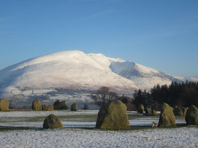 Blancathra Mt from the 2000BC stone circle Keswick.. Winter 2015