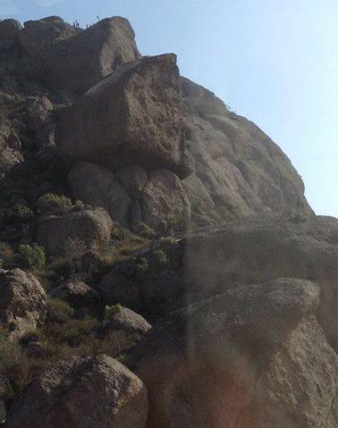 Hanging boulder