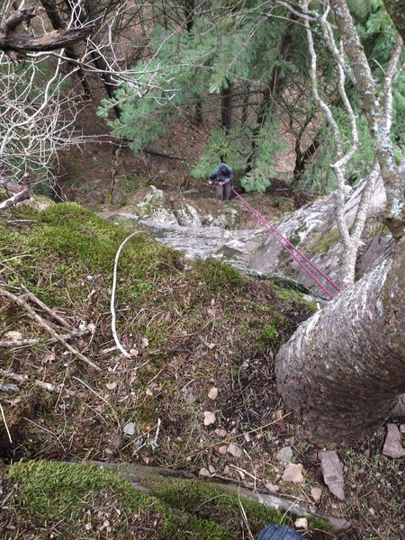 Rock Climbing Photo: Looking down from the anchors on Mountaineers Rout...