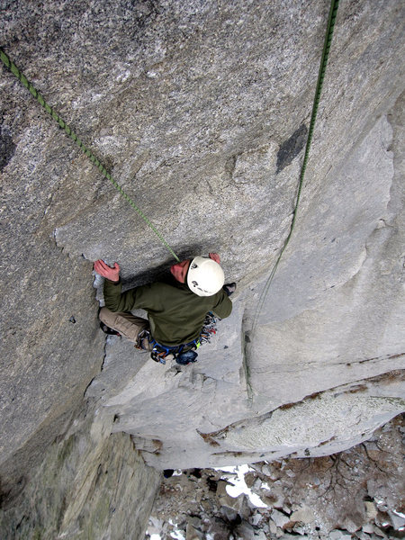 Rock Climbing Photo: Working the crux sequence on Gordon's Direct.