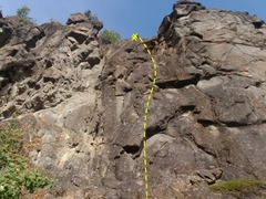 Rock Climbing Photo: Climb past the two small roofs down low on the rou...