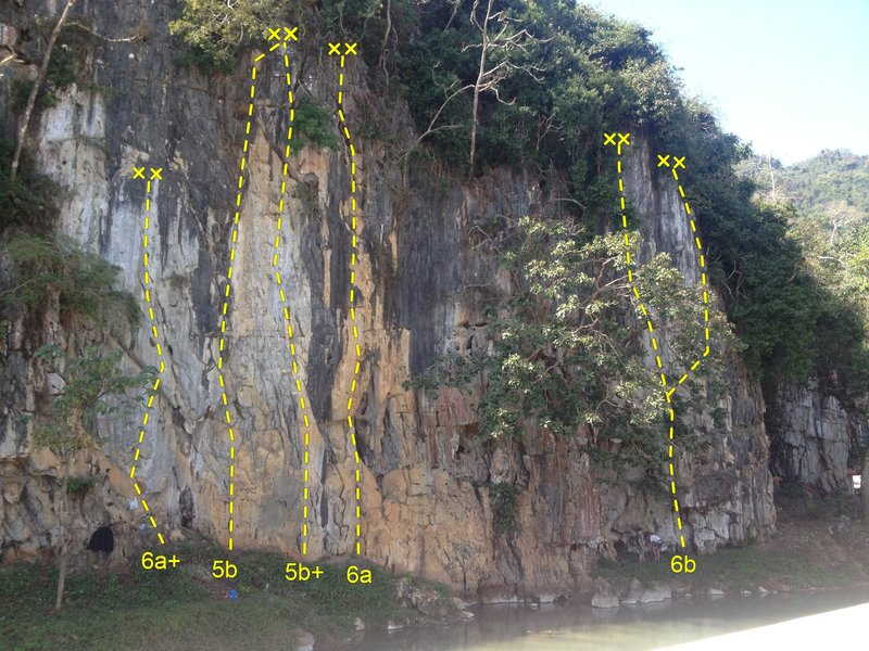 Monkey Wall, Tham Pla, Chiang Rai - Rock Climbing Topo