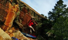 Rock Climbing Photo: Making the slightly awkward first move on Dapper D...