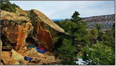 Rock Climbing Photo: Dapper Dance problem beta in orange.