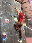 Rock Climbing Photo: Beta V0- crossing midline to get up and over