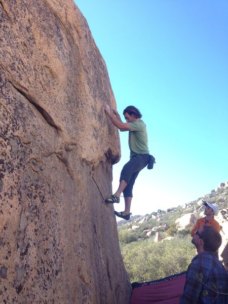 Rock Climbing Photo: Owen trying to find feet after securing the side p...