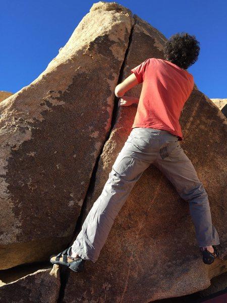 Rock Climbing Photo: Justin avoiding the perfect finger jams on Happy F...