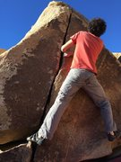 Rock Climbing Photo: Justin avoiding the perfect finger jams on Happy F...
