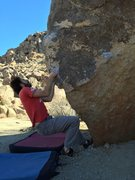 Rock Climbing Photo: Pulling hard on the steep opening moves.