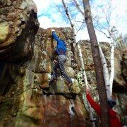 Rock Climbing Photo: Randy Baum on the dyno finish.