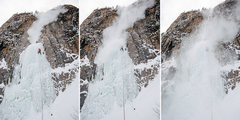 Rock Climbing Photo: Dallen getting blasted from the spindrift.  michae...