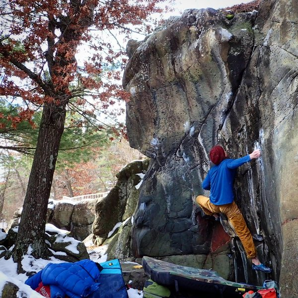 Rock Climbing Photo: Caius on a balmy January day in MN.