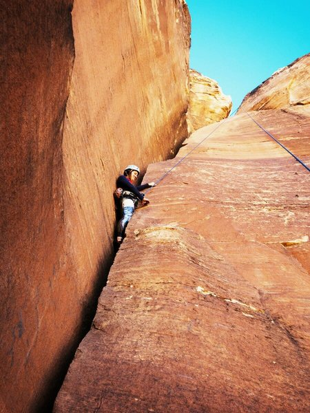 Climbing Chrysler Crack in Red Rock.