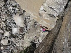 Rock Climbing Photo: The step around the arete on p3.