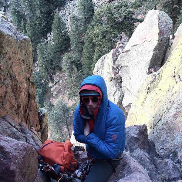 Rock Climbing Photo: Top of Pitch 3 before the traverse. The sun was be...