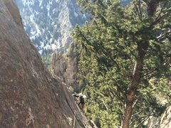 Rock Climbing Photo: Justin coming up the arete before the final sectio...