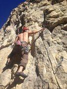 Rock Climbing Photo: Charley sending and taking full advantage of a war...