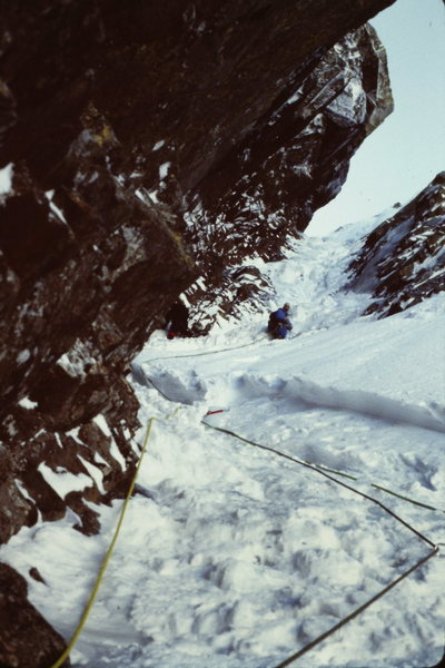"""Rock Climbing Photo: Looking Up at P2; Note the 12"""" - 15"""" thi..."""