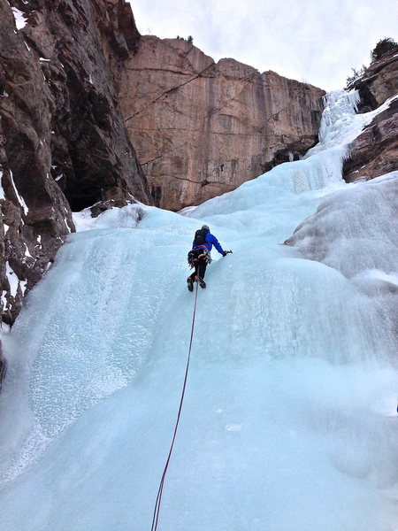 Rock Climbing Photo: Easy rolling ice on pitch 3.