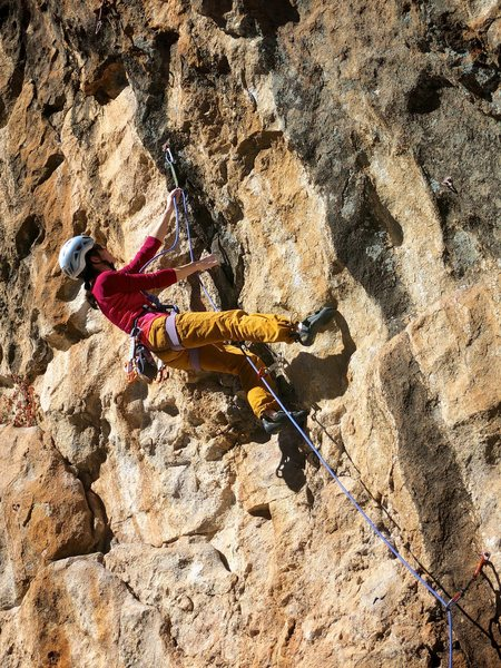 Rock Climbing Photo: Clipping the draw before heading into the bouldery...