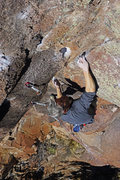 Rock Climbing Photo: A classic layback switch move with a perfectly imp...
