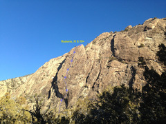 Rock Climbing Photo: The Mitten Slab with the route Illusions labeled. ...
