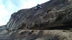 Rock Climbing Photo: FA pic of the crux pitch.