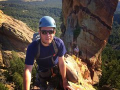 Rock Climbing Photo: Facing backwards on the downclimb toward the base ...