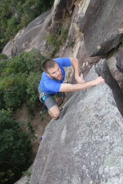 Climbing the fin on De-Linked.  Ian Smith on lead.