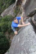 Rock Climbing Photo: Climbing the fin on De-Linked.  Ian Smith on lead.