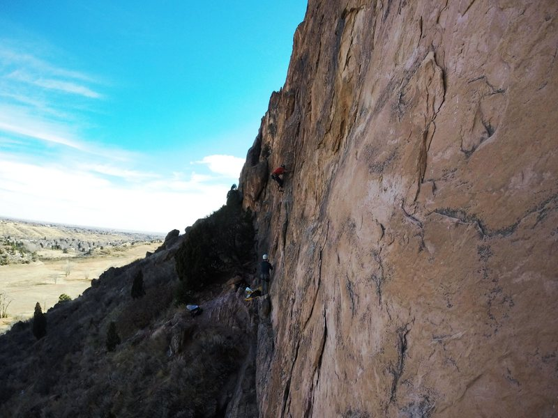 Rock Climbing Photo: Heading on up Big Sky.