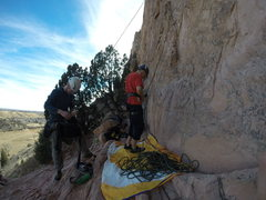 Rock Climbing Photo: Base of the climb. Look for the two trees to our l...