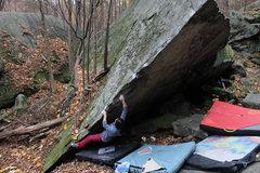 Rock Climbing Photo: Aubree starting off on 3b. Main Bloc Arete Sit