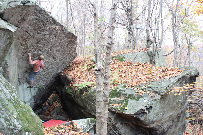 Rock Climbing Photo: Mike working The Golden Bough when it was still a ...