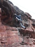 Rock Climbing Photo: Stemming into the crux.